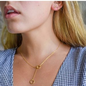 Jewelry - Gold Plated Circle Loop Set Necklace and Earrings